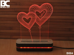 Black Cut 3D Lampa jednobojna - Dva srca ( B004 )