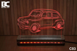 Black Cut 3D Lampa jednobojna - Fića ( C03 )