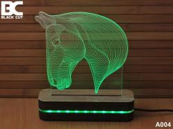 Black Cut 3D Lampa sa 8 različitih boja i daljinskim upravljačem - Konj ( A004 )