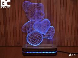 Black Cut 3D Lampa sa 9 različitih boja i daljinskim upravljačem - Meda ( A11 )