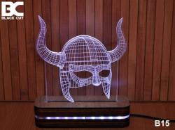 Black Cut 3D Lampa sa 9 različitih boja i daljinskim upravljačem - Helmet ( B15 )