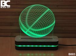 Black Cut 3D Lampa sa 9 različitih boja i daljinskim upravljačem - Košarkaška lopta ( B003 )