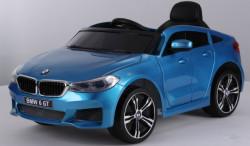 BMW 6 GT Licencirani Auto za decu na akumulator sa kožnim sedištem i mekim gumama - Plavi