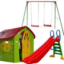 Dečiji komplet za dvorište Extra LARGE (XL-A) Ljuljaška + Kućica + Tobogan