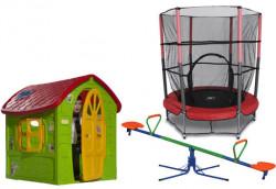 Dečiji komplet za dvorište ( SET 5 ) Kućica + trambolina + Klackalica