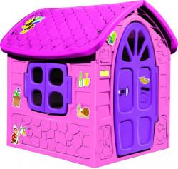 Dohany Roze Velika Kućica za decu 111x120x113cm sa ružičastim krovom ( 502788 )