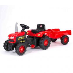 Dolu Traktor na pedale sa prikolicom crno - crveni ( 080530 )