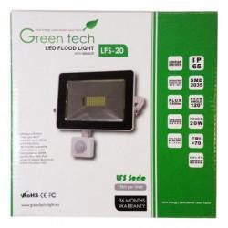 GreenTech 20W reflektor SMD + senzor poktreta 6000K 1500LM 230V ( RS20CG/Z )