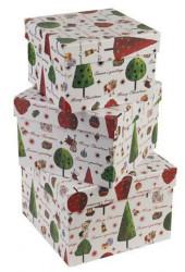 Kutije ukrasne set 1/3 19x19x13 cm design Bela/jelka