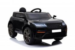 Land Rover 1 Auto na akumulator sa kožnim sedištem i mekim gumama - Crni