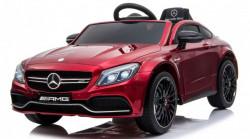 Mercedes AMG GT-R model 265-1 Licencirani Auto za decu sa kožnim sedištem i mekim gumama - Metalik Crveni