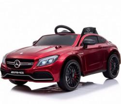Mercedes C63 AMG Licencirani auto za decu na akumulator sa kožnim sedištem i mekim gumama - Crveni