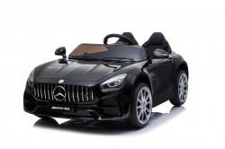 Mercedes GT AMG Licencirani auto na akumulator sa kožnim sedištem i mekim gumama - Crni