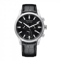 Muški Claude Bernard Aquarider Chronograph Crni Srebrni Elegantno Sportski Ručni Sat Sa Crnim Kožnim Kaišem