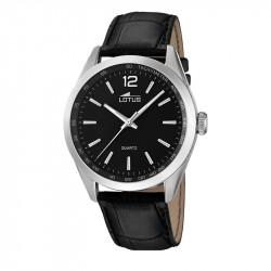 Muški Lotus Minimalist Crni Quartz Elegantni ručni sat sa crnim kroko kožnim kaišem