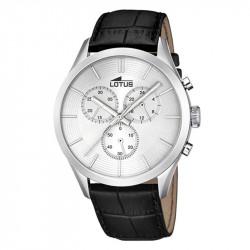 Muški Lotus Minimalist Srebrni Elegantni Hronograf ručni sat sa crnim kožnim kaišem