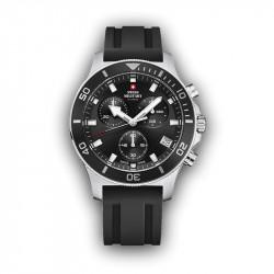 Muški Swiss Military Chrono Quartz Chronograph Crni Srebrni Sportski Ručni Sat Sa Srebrnim Metalnim Kaišem