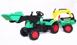 Traktor 09 na pedale sa prikolicom + prednja i zadnja kašika - Zeleni