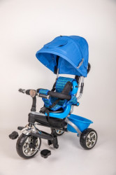 Tricikl T05 za decu sa mekim gumama - Plavi
