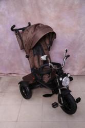 Tricikl za decu T08 sa rotirajućim sedištem i gumama na pumpanje - Braon