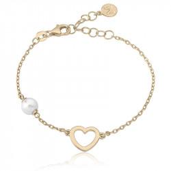 Ženska Majorica Pearl Open Heart Gold Srebrna Biserna Narukvica 6 mm