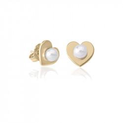 Ženske Majorica Pearl Heart Bele Biserne Gold Srebrna Mindjuše 5 mm