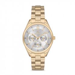 Ženski Bigotti multifunction beli zlatni sportsko elegantni ručni sat sa zlatnim metalnim kaišem
