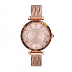 Ženski Bigotti roze zlatni elegantni ručni sat sa roze zlatnim pancir kaišem