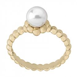 Ženski Majorica Classic Sets Beli Biserni Gold srebrni prsten 7 mm 53 mm