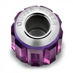 Ženski Oliver Weber Baguette Steel Amethyst privezak sa swarovski ljubičastim kristalom za narukvicu