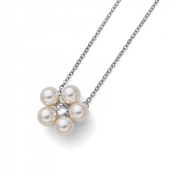 Ženski Oliver Weber Flower Pearl Crystal Lančić Sa Belim Swarovski Perla Priveskom