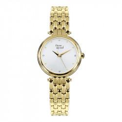 Ženski Pierre Ricaud Quartz Swarovski Beli Zlatni Elegantni Ručni Sat Sa Zlatnim Metalnim Kaišem