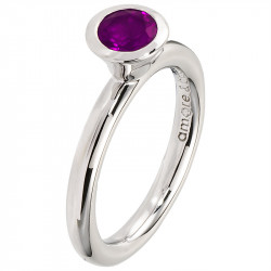 Amore Baci srebrni prsten sa jednim okruglim Ljubičastim swarovski kristalom 54 mm