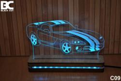 Black Cut 3D Lampa jednobojna - Corvette ( C09 )