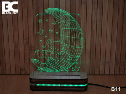 Black Cut 3D Lampa sa 9 različitih boja i daljinskim upravljačem - Mesec i meda ( B11 )