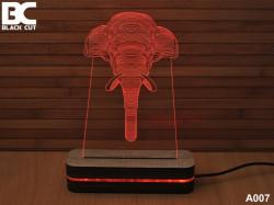 Black Cut 3D Lampa sa 9 različitih boja i daljinskim upravljačem - Slon ( A007 )