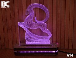 Black Cut 3D Lampa sa 9 različitih boja i daljinskim upravljačem - Divokoza ( A14 )