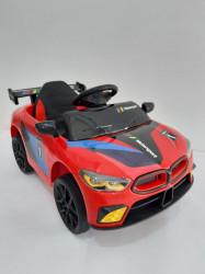 BMW MOTO SPORT - Crveni Auto na akumulator sa kožnim sedištem + funkcija ljuljanja