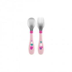 Chicco metalne kašika i viljuška, 18m+, roze ( A049978 )