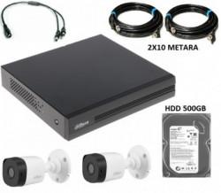 Dahua-15 DVR 4CH+ 2X HAC-B1A21-0360B + 2XRG59+2X0.75 SA NAPAJANJEM+500GB HDD NAPAJANJE (11.080)