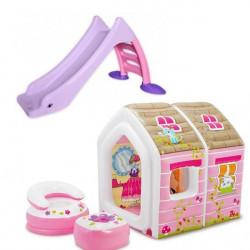 Dečiji komplet za dvorište ( Princess set 2 ) tobogan + Kućica na naduvavanje + fotelja i stočić