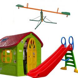 Dečiji komplet za dvorište ( SET 1 G ) Kućica + Tobogan + Klackalica
