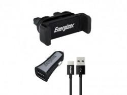 Energizer Max Universal Car Kit 2USB+USB-C Cable Black ( CKITB2CC23 )