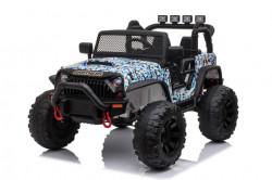 Jeep Brothers na akumulator sa kožnim sedištem i mekim gumama - Plavi