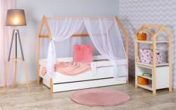 Krevet kućica sa fiokom i dušekom 160x80 DOMEK - BELA (bukva) ( 7724 )