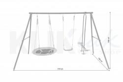 Ljuljaska za dvorište Gnezdo - metalna konstrukcija 318x156x196cm