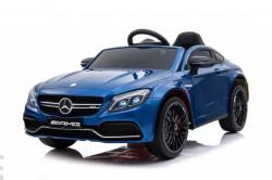 Mercedes C63 AMG Licencirani auto za decu na akumulator sa kožnim sedištem i mekim gumama - Plavi