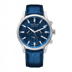 Muški Claude Bernard Aquarider Chronograph Plavi Srebrni Elegantno Sportski Ručni Sat Sa Teget Kožnim Kaišem