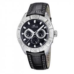 Muški Lotus Multifuncion Crni Sportski ručni sat sa minutnom koronom i crnim kroko kožnim kaišem