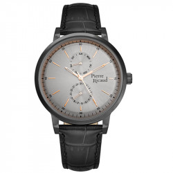Muški Pierre Ricaud Chronograph Sivi Crni Elegantni Ručni Sat Sa Crnim Kožnim Kaišem